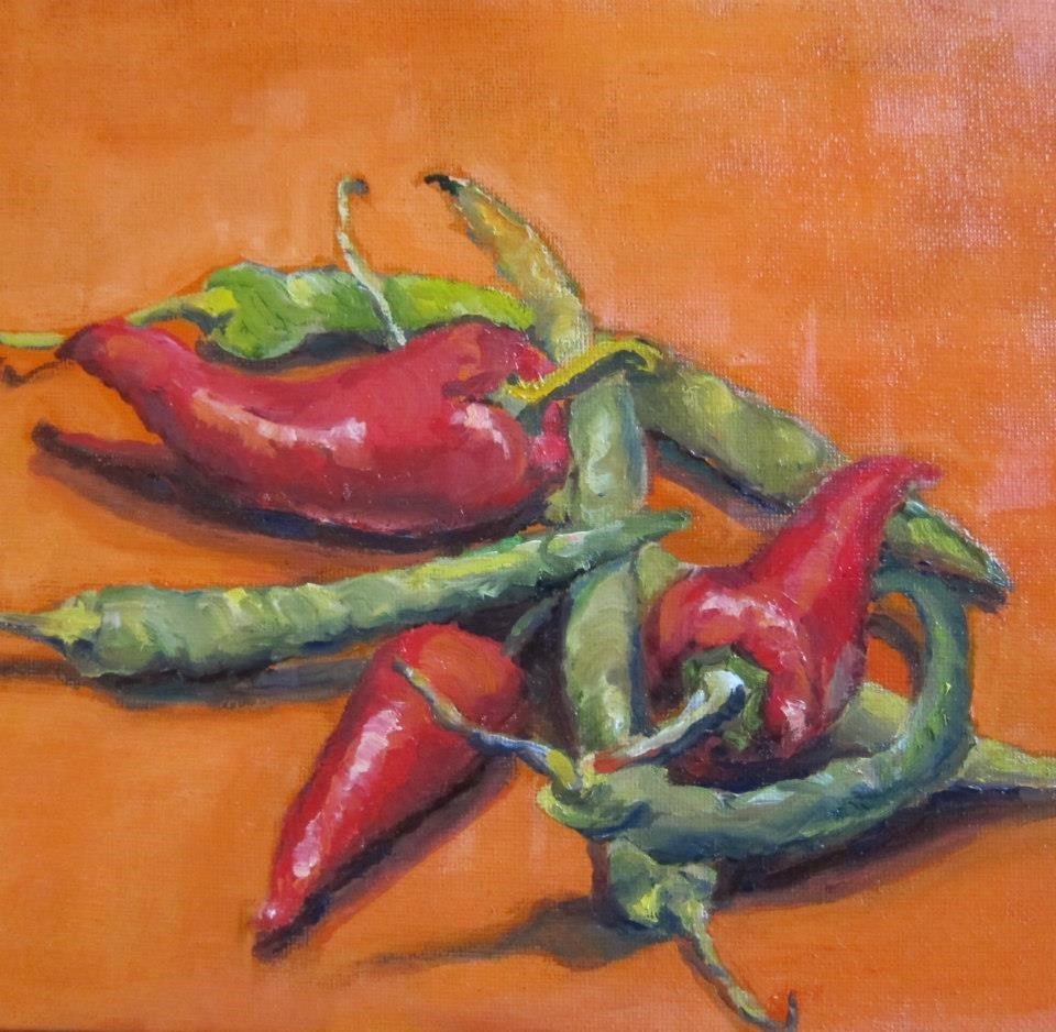 """red hot chilli peppers"" original fine art by Kathy Bodamer"