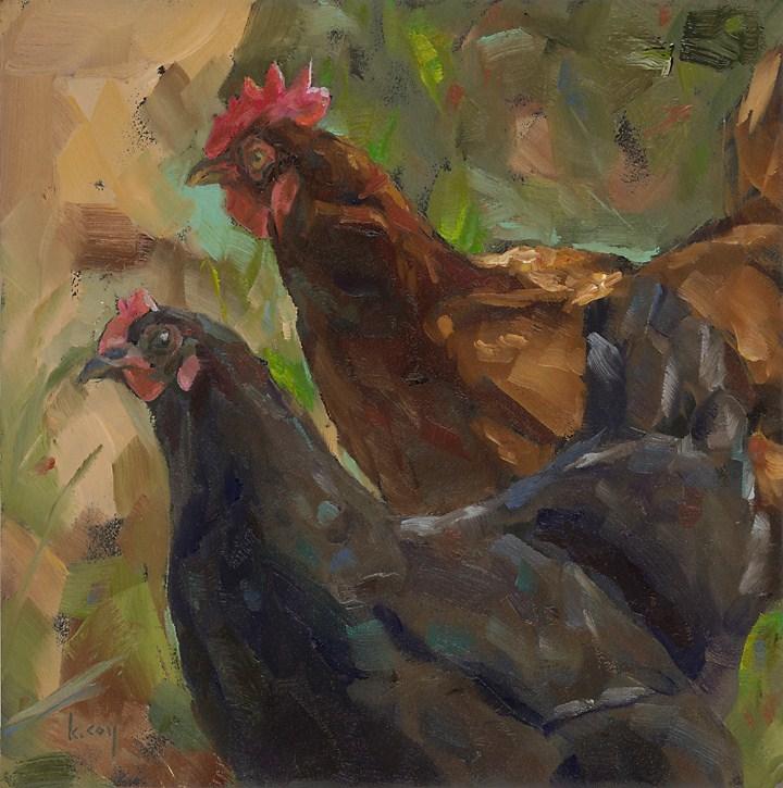 """Red Hen and Black Hen go for a Walk"" original fine art by Kathleen Coy"