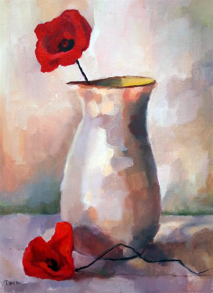 """Two Red Poppies"" original fine art by Nava Judith"
