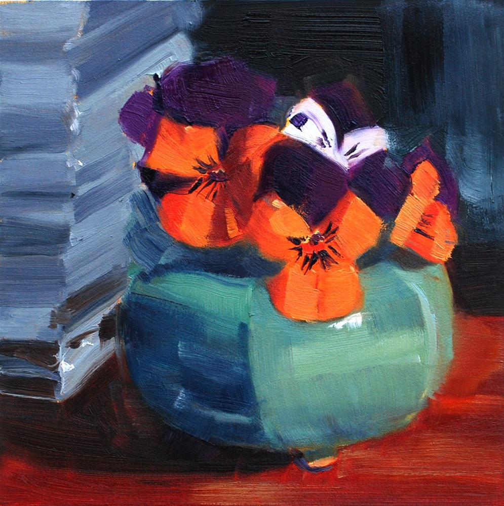 """Pansies in Japanese Incense Burner"" original fine art by Susan McManamen"