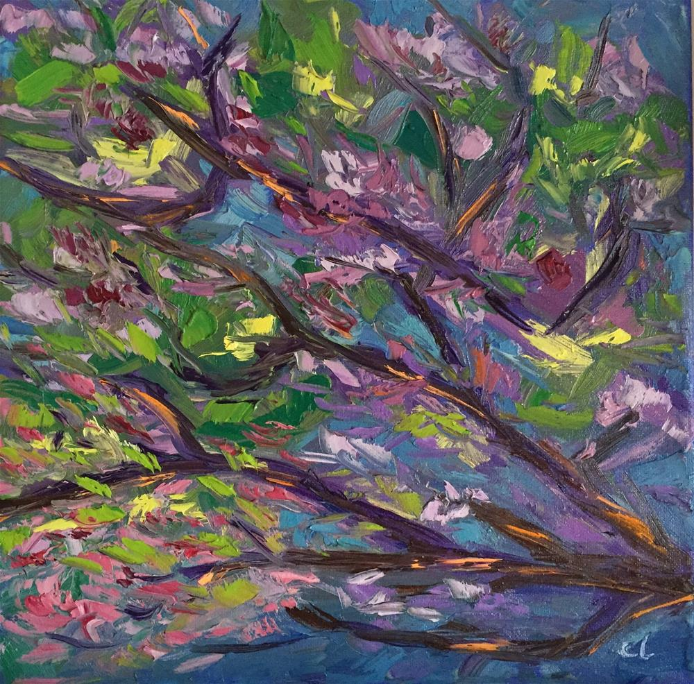 """Purple trees"" original fine art by Cheree Apalona Lueck"