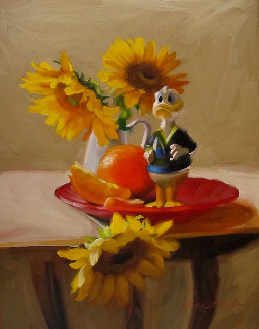 Watchful painting of donald duck sunflowers original fine art by Diane Hoeptner