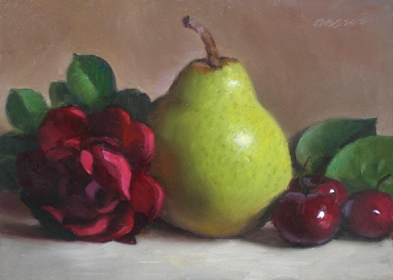 """Pear, Rose and Cherries"" original fine art by Debra Becks Cooper"