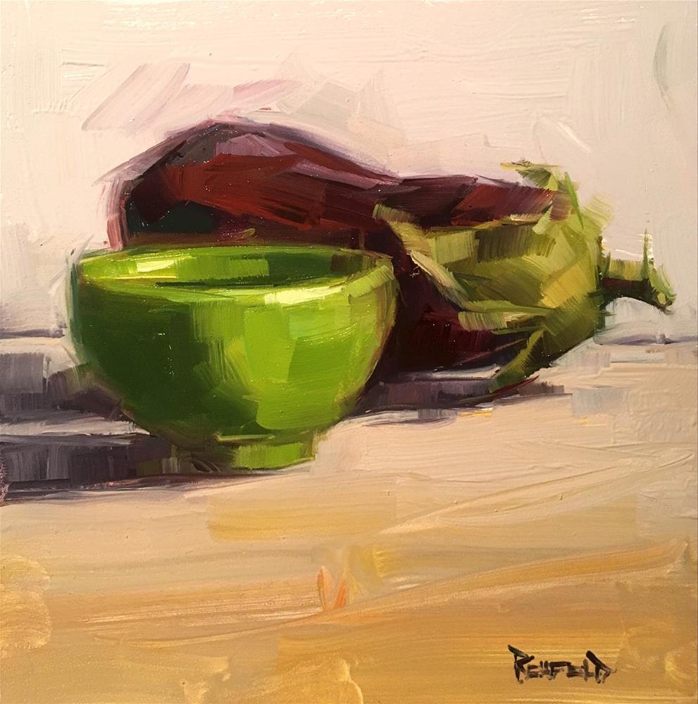 """Eggplant and Green Bowl"" original fine art by Cathleen Rehfeld"