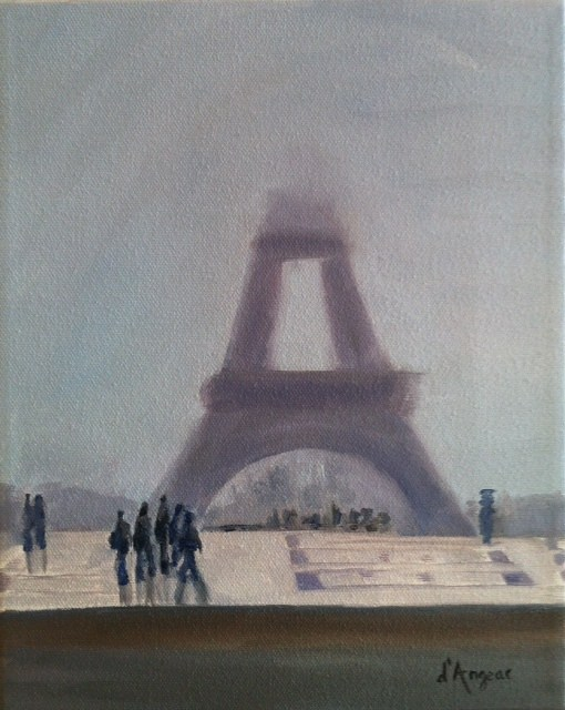 """Eiffel Tower in the Fog"" original fine art by Karen D'angeac Mihm"