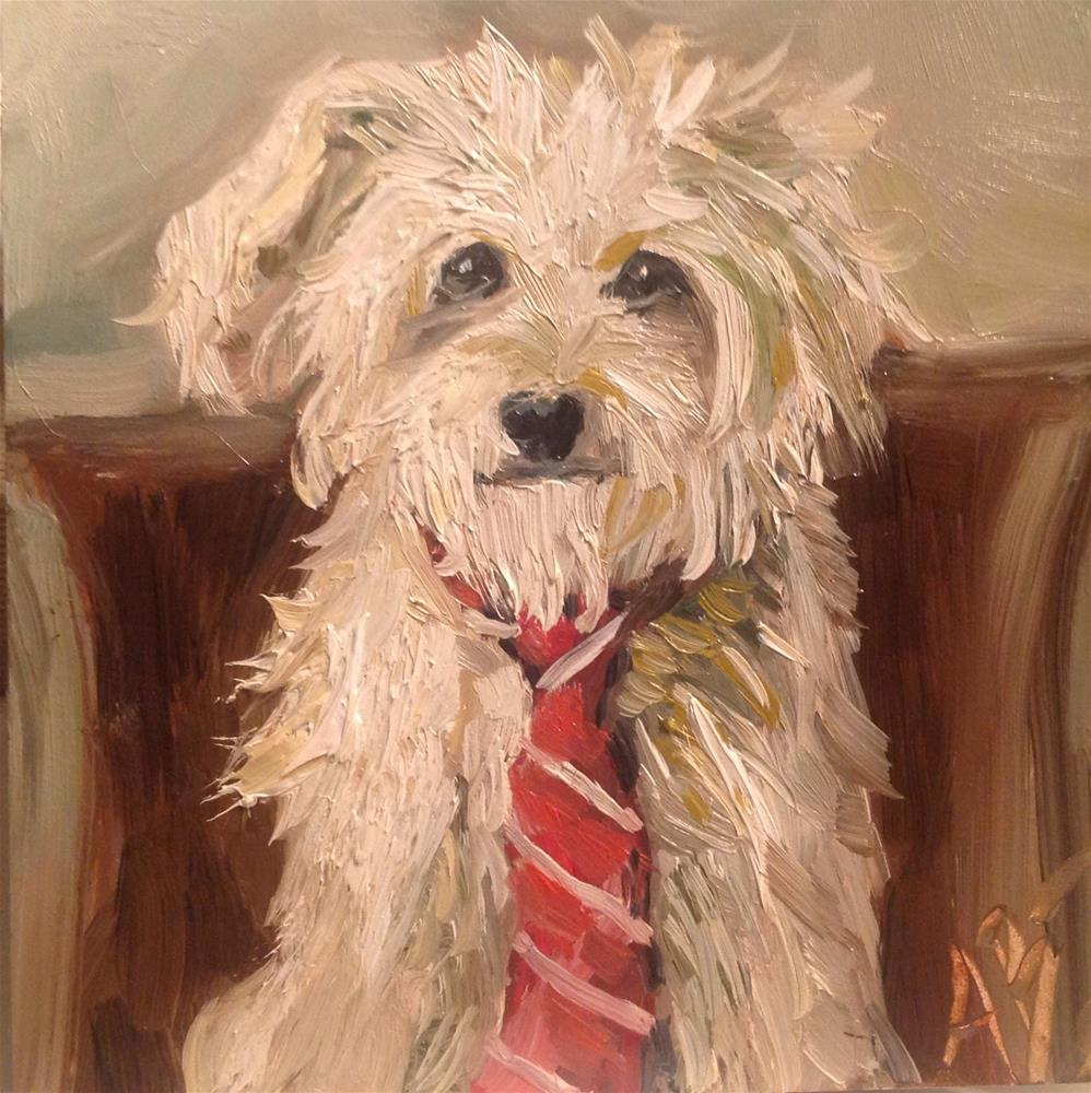 """This Dog is Tied"" original fine art by Annette Balesteri"