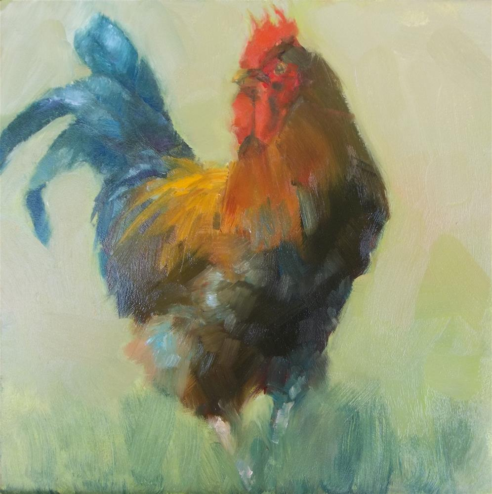 """Rooster Study"" original fine art by Nancy  Spinadel"