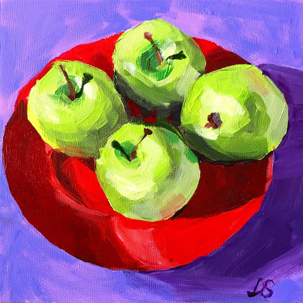 """Four Apples"" original fine art by Diana Stewart"