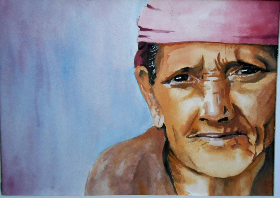 """Old Woman Portrait"" original fine art by Laura B."