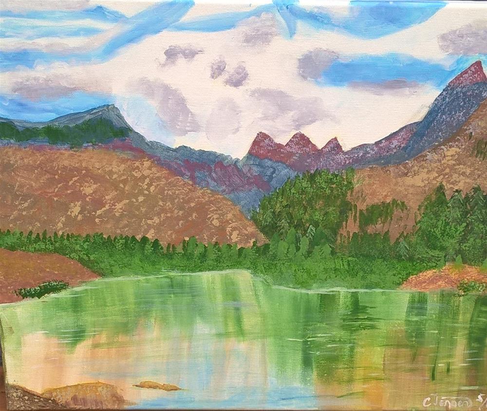 """""""A mountain lake"""" original fine art by Cindy Jensen"""
