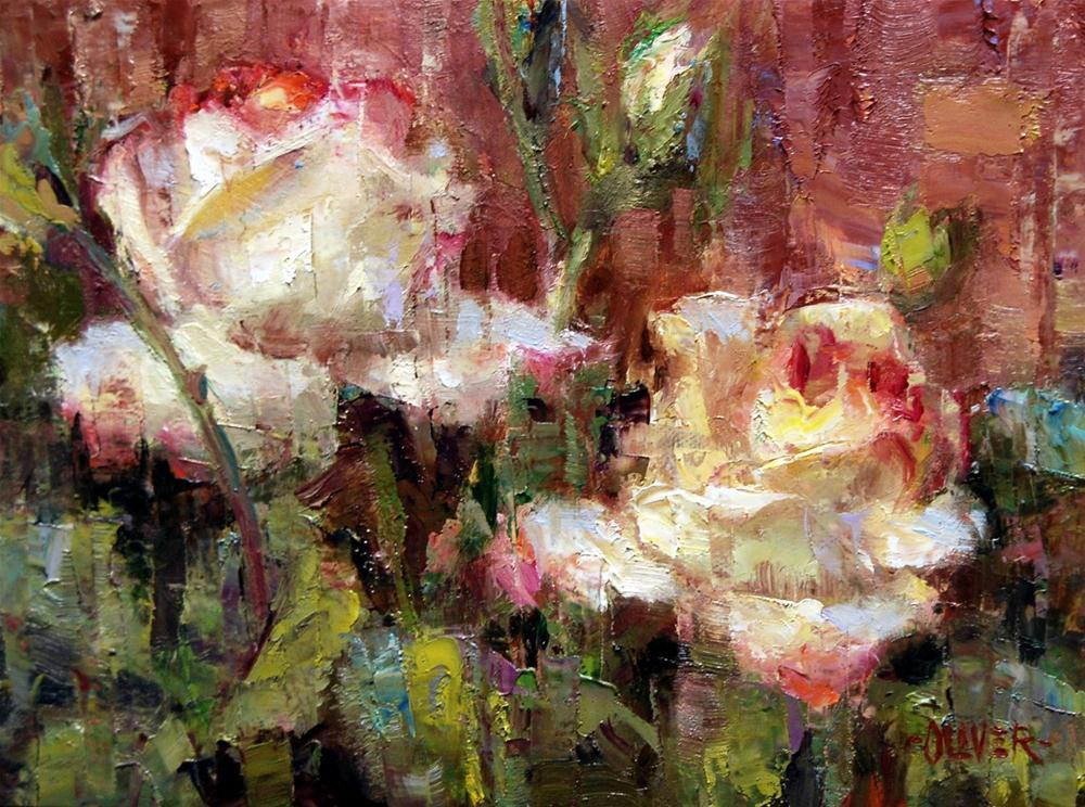 """Roses Against Adobe"" original fine art by Julie Ford Oliver"