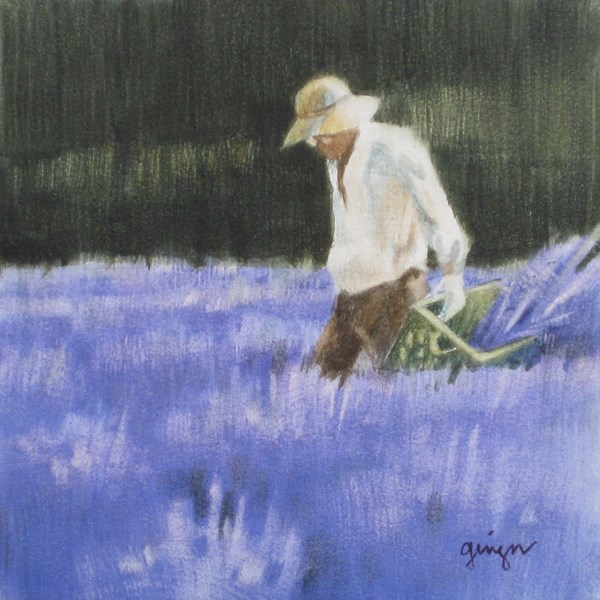 """Lavender Picker 4"" original fine art by Ginger Pena"