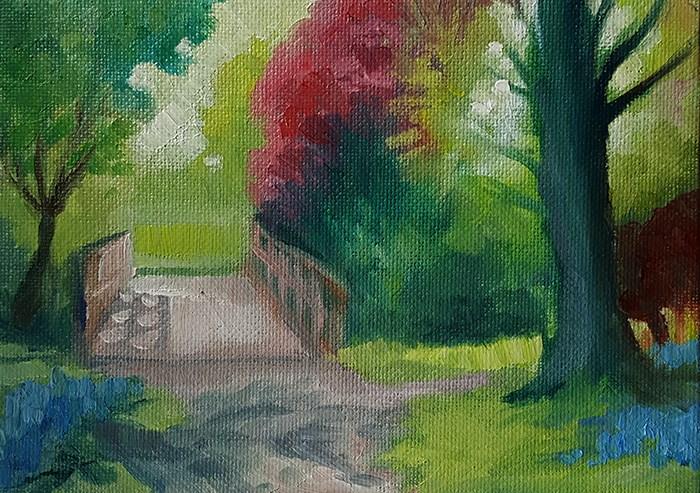"""Wooden Bridge in Spring"" original fine art by J M Needham"