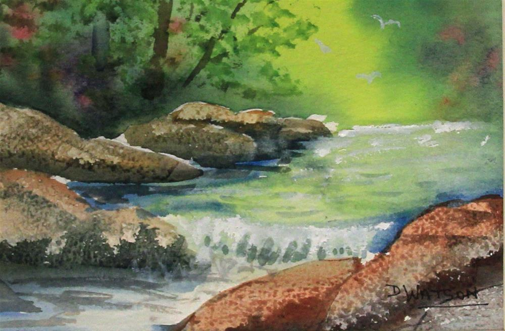 """Rocks and Stream"" original fine art by Deb Watson"