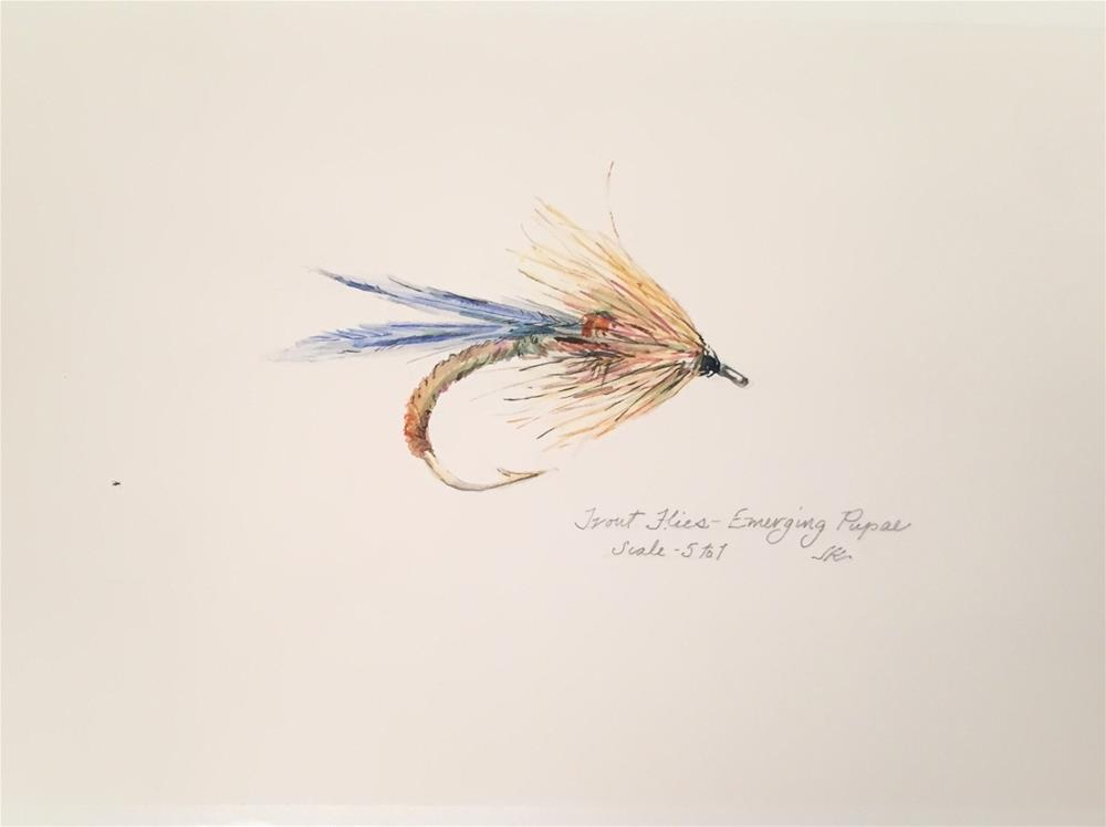 """Trout Fly - Emerging Nymph"" original fine art by Jean Krueger"