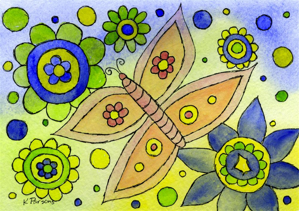 """Butterfly in a Sea of Flowers"" original fine art by Kali Parsons"