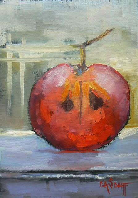 """WILD WEDNESDAY  Grape Half 7x5"" original fine art by Carol Schiff"