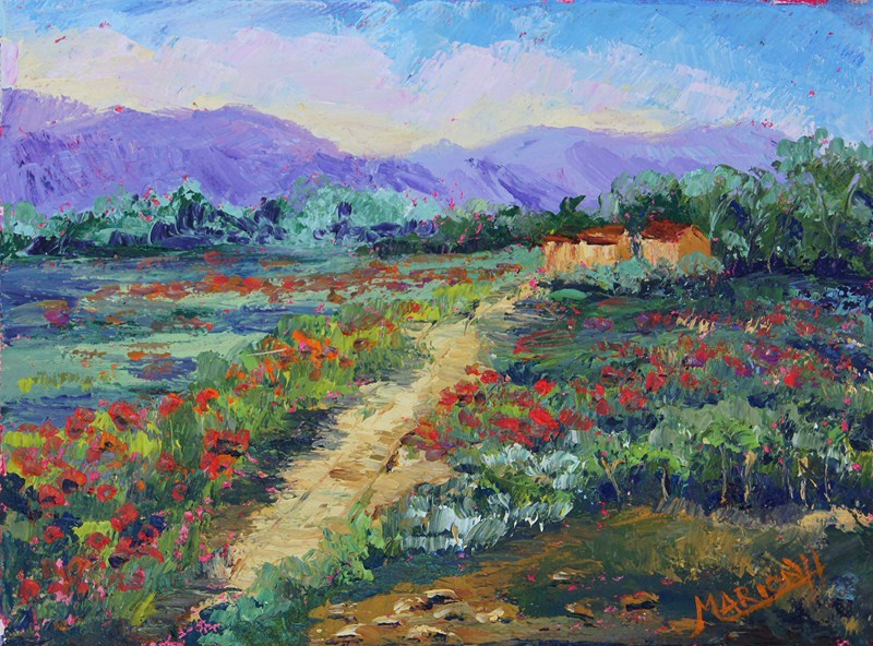 """Poppy Meadows Provence #1, oil knife painting"" original fine art by Marion Hedger"