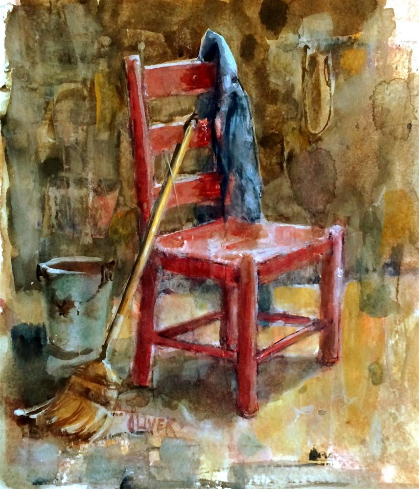 """Interiors - Red Chair - day 9"" original fine art by Julie Ford Oliver"