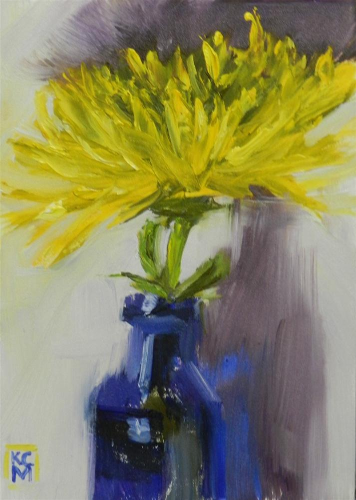 """Yellow Spider Mum, 5x7 Inches, Oil Painting by Kelley MacDonald"" original fine art by Kelley MacDonald"