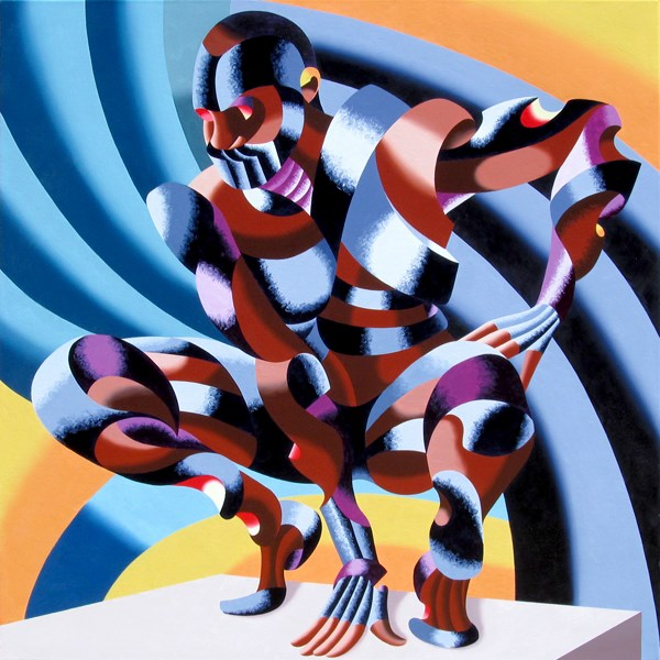 """Mark Webster - Edison - Abstract Geometric Futurist Figurative Oil Painting"" original fine art by Mark Webster"