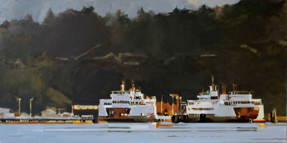 """Two Vashon Ferries"" original fine art by Gretchen Hancock"