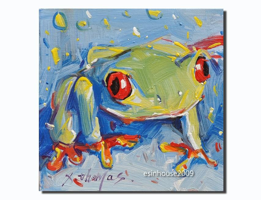 """Original Art, Crab Painting, Oil on Canvas, Blue Green, Orange, Tan seascape Art"" original fine art by Thomas Xie"