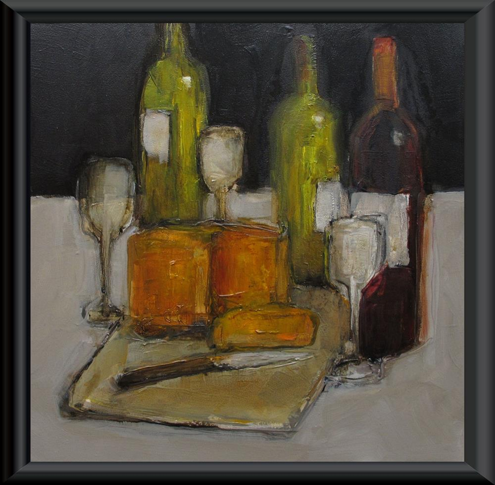 """WINE AND CHEESE Original ABSTRACT COCKTAIL CULINARY Art Painting OIL"" original fine art by Colette Davis"