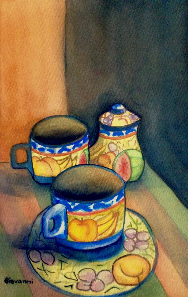 """Tea cups - Honduran traditional designs"" original fine art by Giovanni Antunez"