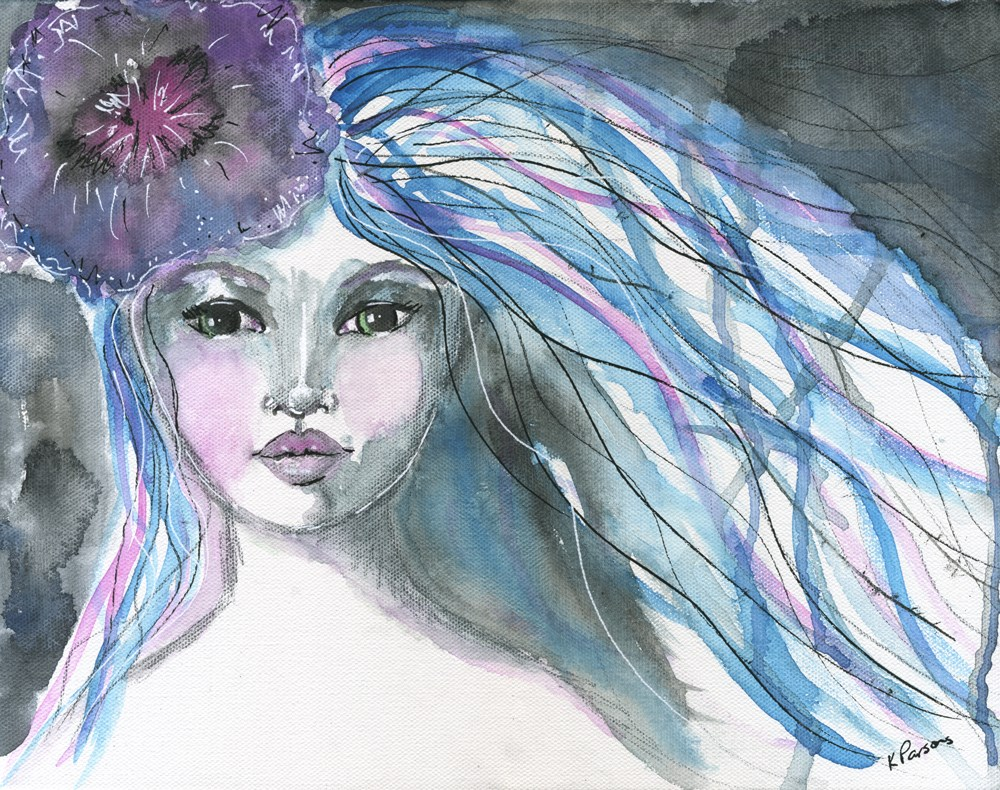 """She Wore a Flower in her Hair"" original fine art by Kali Parsons"