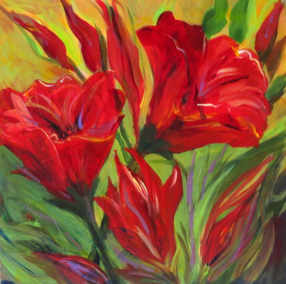 """Red California Poppies"" original fine art by Susan  Mackenzie"