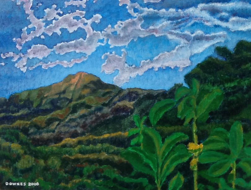 """276 GLASSHOUSE MOUNTAINS 13"" original fine art by Trevor Downes"