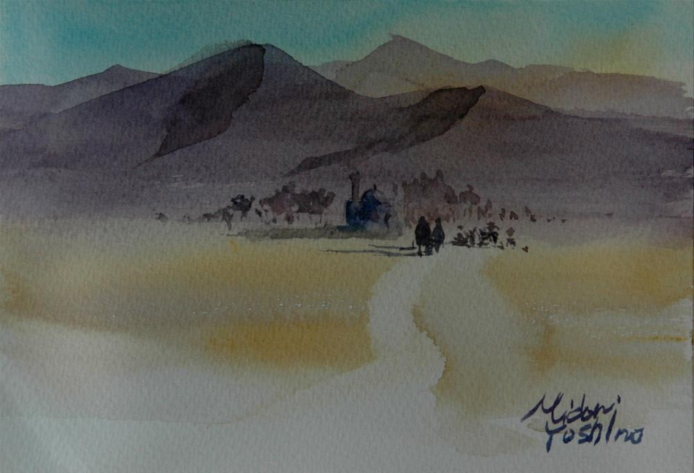 """winter has come to UAE"" original fine art by Midori Yoshino"