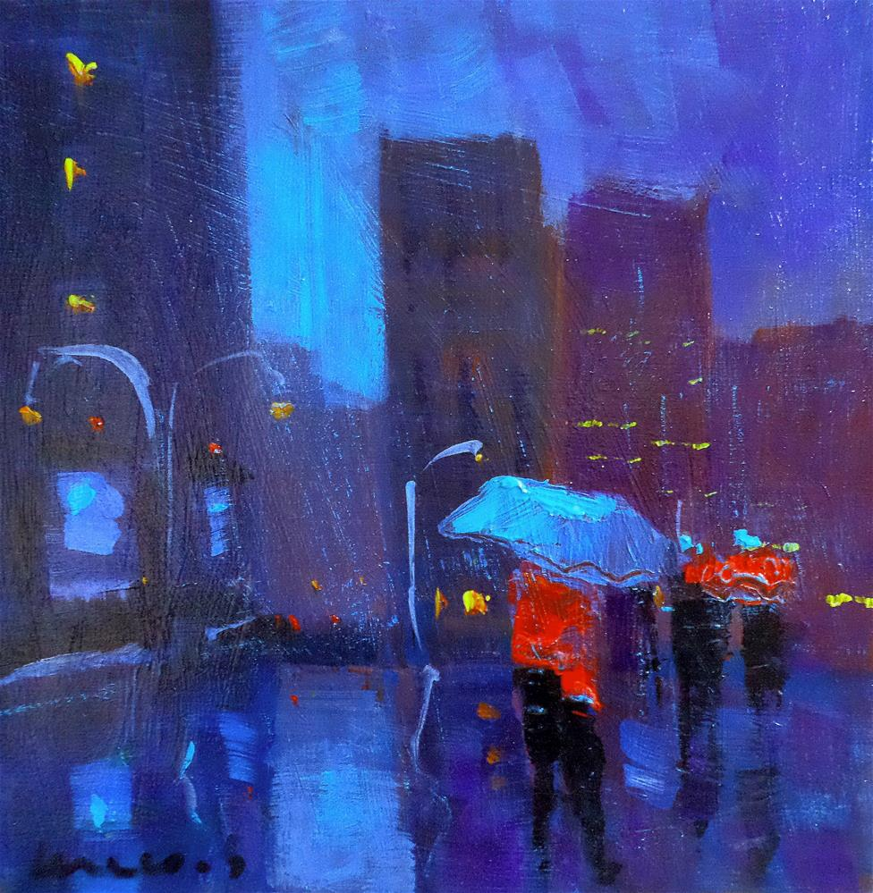 """new york by night"" original fine art by salvatore greco"