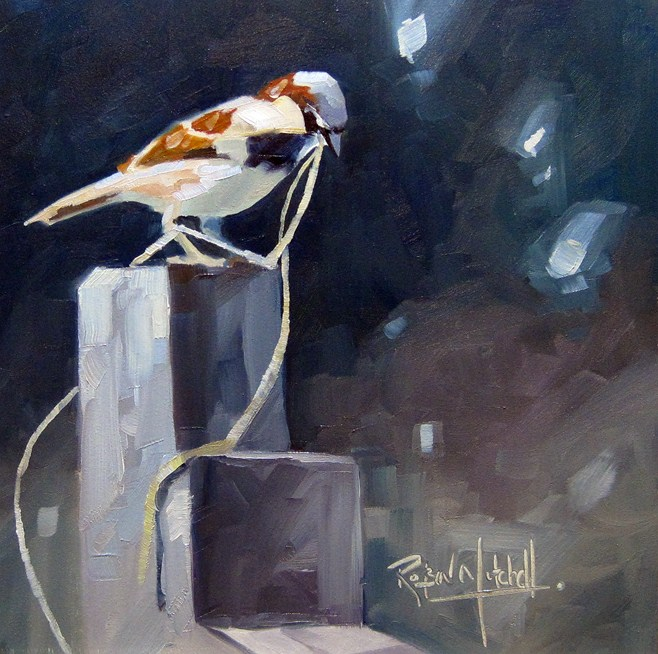 """No 534  Nest Builder"" original fine art by Robin J Mitchell"
