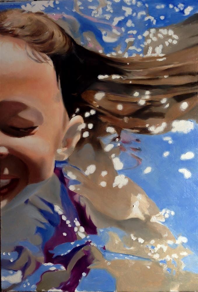 """Swimming Girl"" original fine art by James Coates"