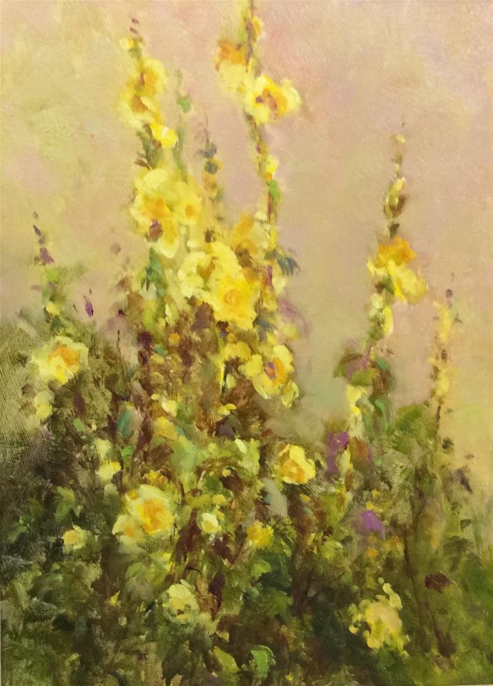 """Hollyhocks"" original fine art by John Shave"