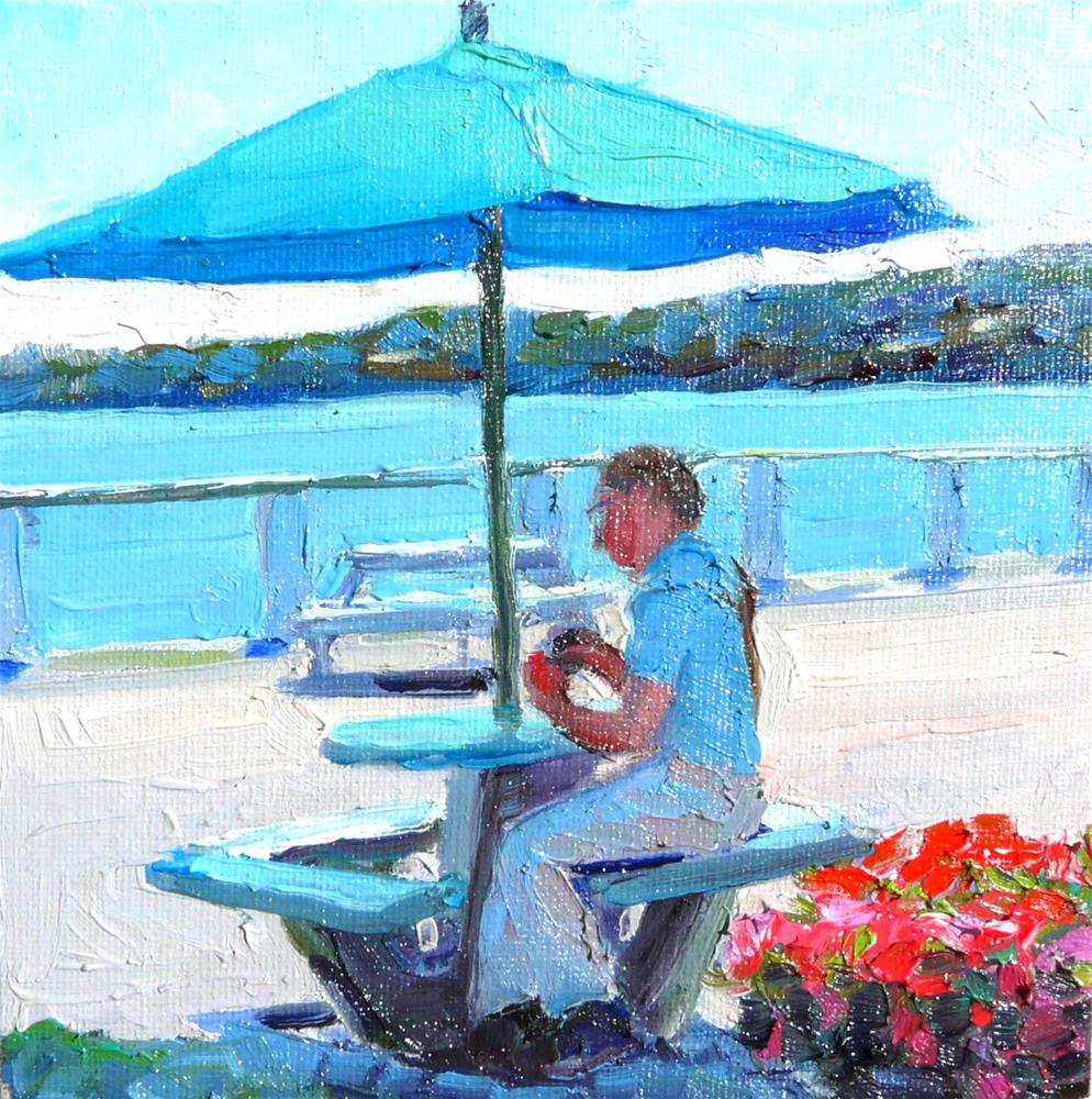 """Bayside Shade,figure,oil on canvas,6x6,priceNFS"" original fine art by Joy Olney"