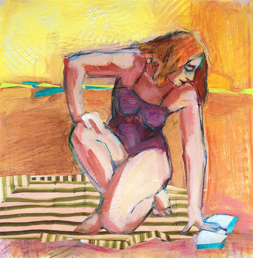 """Just One More Page, woman reading on beach"" original fine art by Marie Fox"