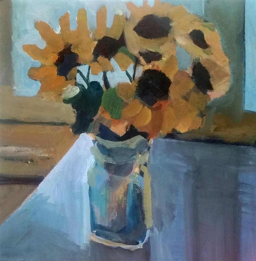 """Sunflowers Near the Window "" original fine art by Liz Maynes"