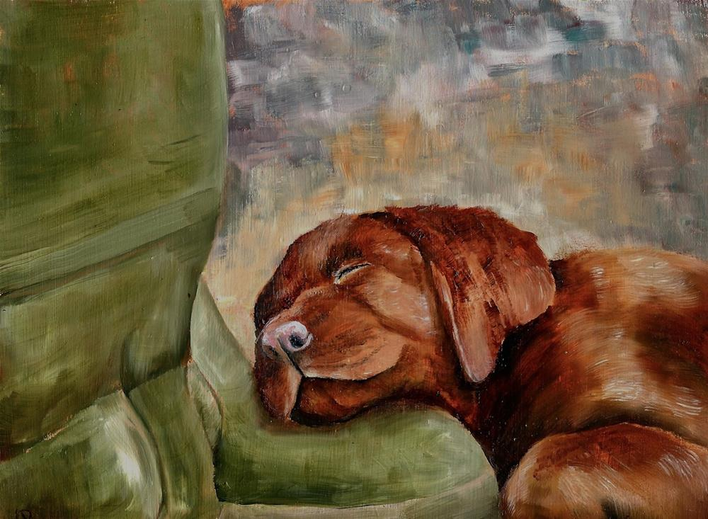 """Pup On Boots (and the origin of all chocolate labradors)"" original fine art by Karen Robinson"