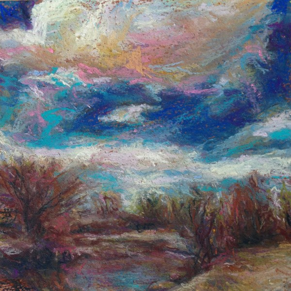 """SHIMMER - 6 x 6 sky pastel by Susan Roden"" original fine art by Susan Roden"