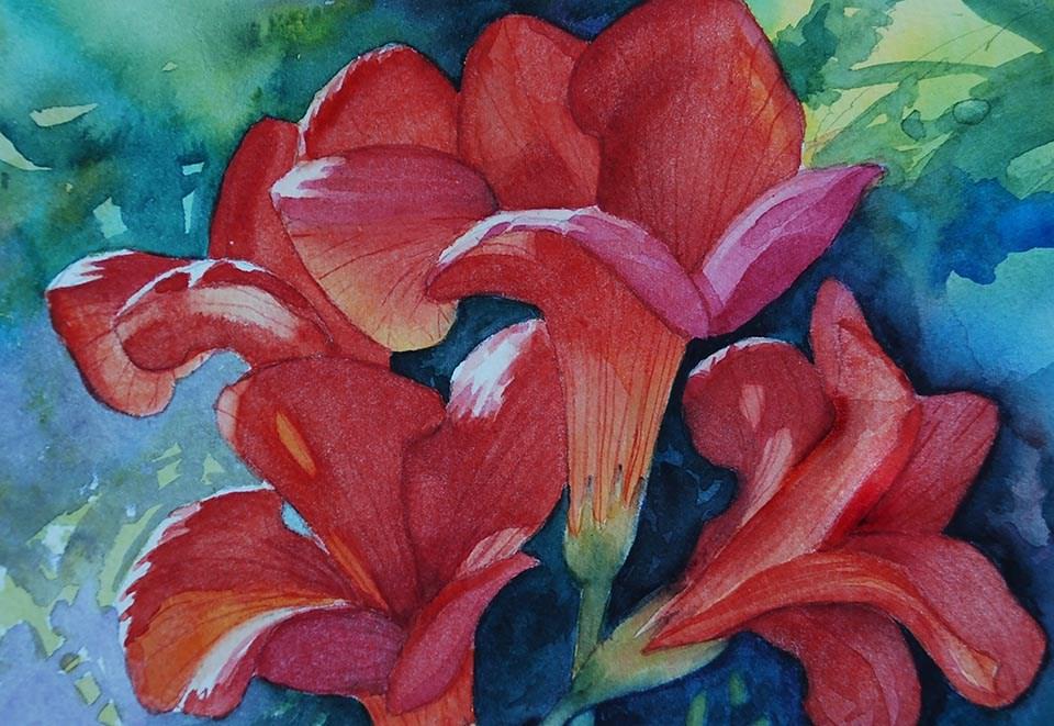 """Trumpet Vine"" original fine art by Mary Anderson"