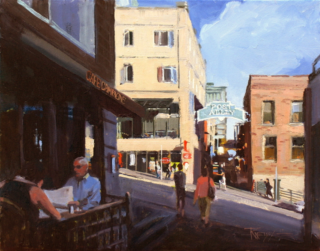 """Cafe Champagne  Seattle city scenes"" original fine art by Robin Weiss"