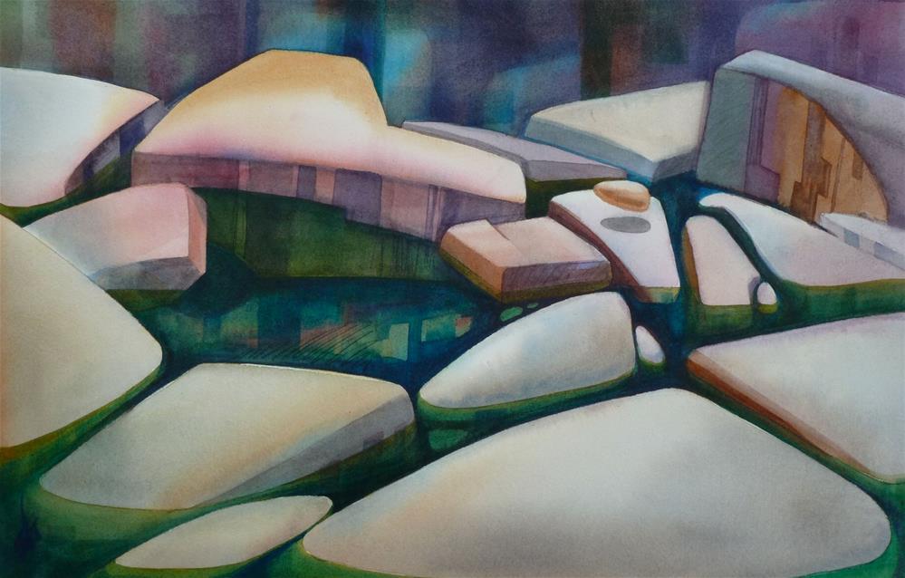 """River Rocks"" original fine art by Mark Allison"