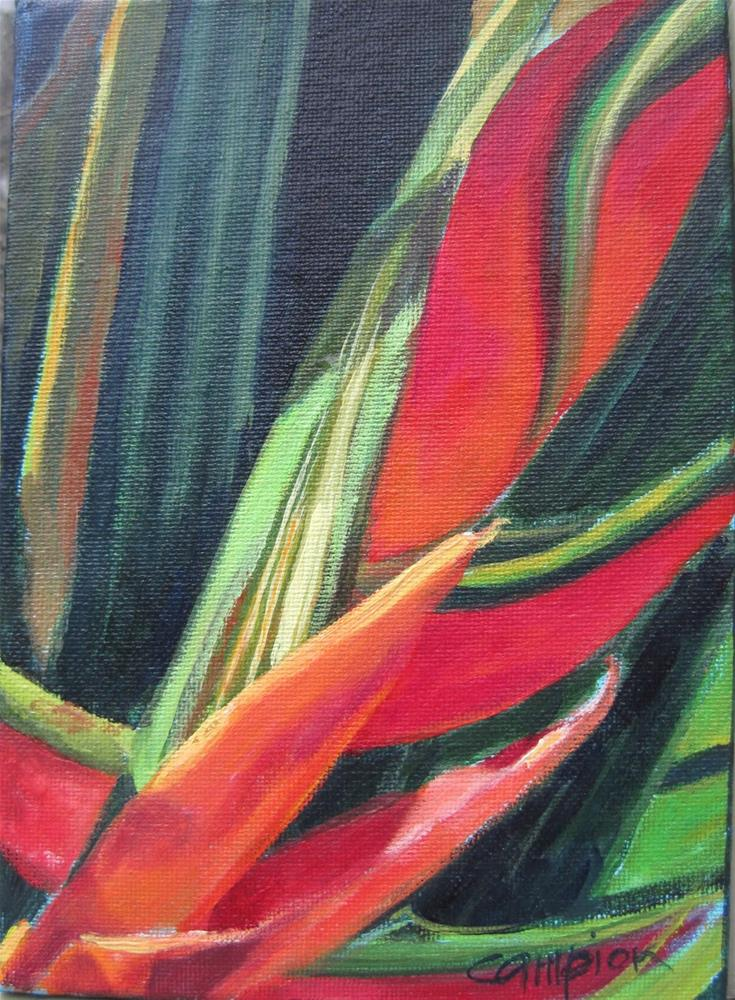 """Heliconia"" original fine art by Diane Campion"