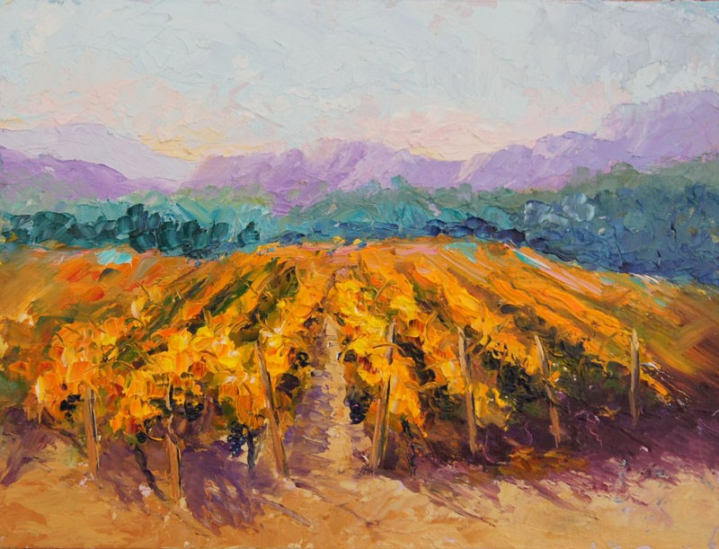 """Autumn Provence Vineyard in sunlight"" original fine art by Marion Hedger"