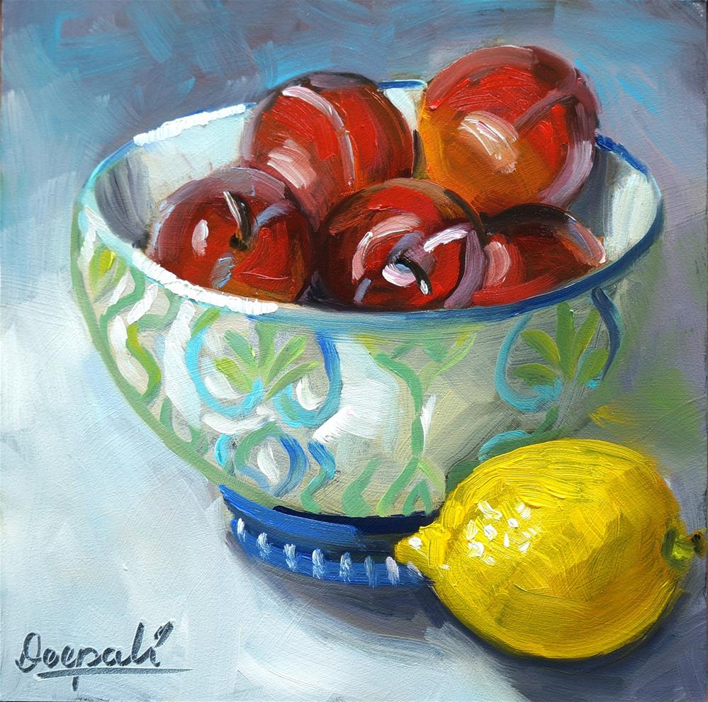 """Plums and lemon"" original fine art by Dipali Rabadiya"
