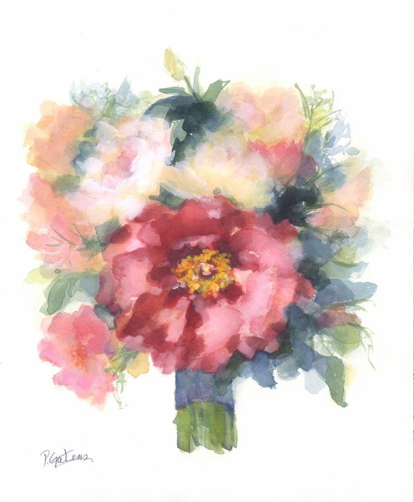 """Poppy Bridal Bouquet for Greenbrier Hotel"" original fine art by Pamela Gatens"