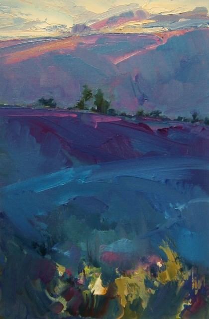 """Dawn over Lavender"" original fine art by Anne Wood"